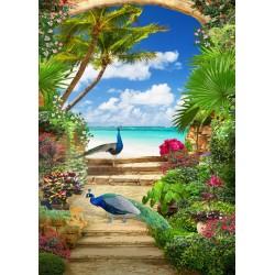 Paysage trompe l'œil 3D format portrait (vertical) - Les paons dans le jardin tropical au bord de la mer