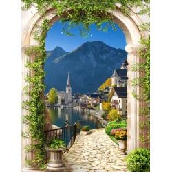 Paysage trompe l'œil 3D format portrait (vertical) - Village au bord du lac vue depuis l'arch