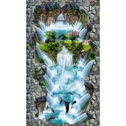 Décoration événémentielle centre commercial sol trompe l'oeil 3D  - Grande chute d'eau et l'île verte flottante