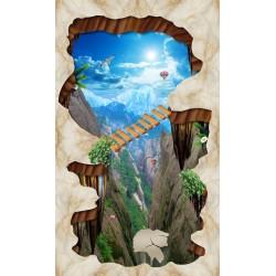 Animation 3D décor vertigineux revêtement de sol trompe l'œil - Montagne dans le trou