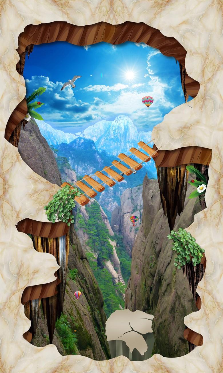 design 10d animation extérieure revêtement de sol trompe œil trou dans le  sol passerelle montagne - Atelier WYBO