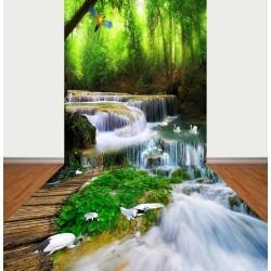 Décoration événementielle mur-sol 3D paysage - Chute d'eau dans la forêt