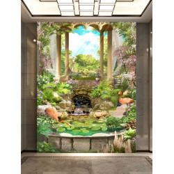 Paysage romantique trompe l'œil 3D - Les flamant roses dans le jardin