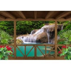 Papier peint photo paysage trompe l'œil 3D - Chute d'eau devant le balcon en bois - Extension d'espace