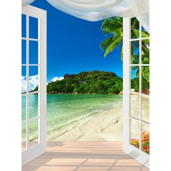 Paysage tropical trompe l'œil 3D format vertical (portrait) - Porte fenêtre vers la plage - Extension d'espace