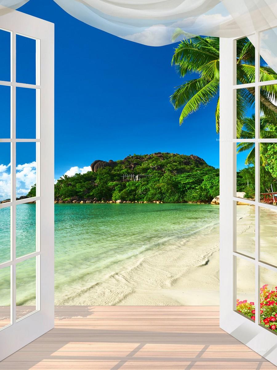 Papier Peint Trompe L Oeil Plafond tapisserie murale 3d personnalisé papier peint photo vertical paysage  trompe l'oeil plage tropicale devant la porte fenêtre - atelier wybo