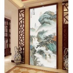 Peinture chinoise format portrait (vertical) paysage asiatique - Chute d'eau dans la montagne en automne