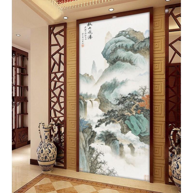 papier peint intiss chinois personnalis tapisserie murale zen chute d 39 eau dans la montagne en. Black Bedroom Furniture Sets. Home Design Ideas