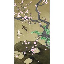 Peinture asiatique aspect ancien fleurs et oiseaux format portrait (vertical)  - Les fleurs de mei et les oiseaux