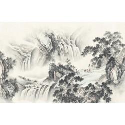 Peinture asiatique zen aspect ancien paysage en noir et blanc - Enseigner la musique devant la grande chute d'eau