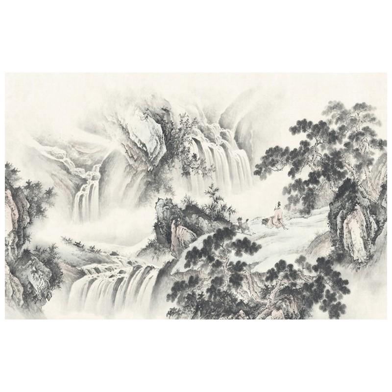 peinture asiatique en noir et blanc paysage zen grande chute d 39 eau dans la montagne. Black Bedroom Furniture Sets. Home Design Ideas