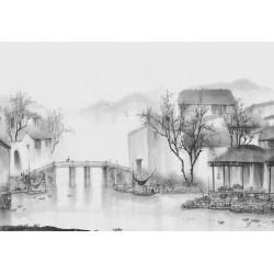 Peinture asiatique zen paysage en noir et blanc - Pont sur le canal dans le village de pêcheur