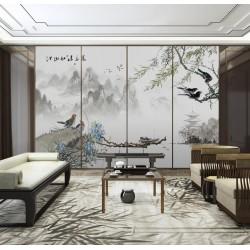 Peinture asiatique zen paysage  de printemps - Le saule pleureur, les fleurs et les oiseaux