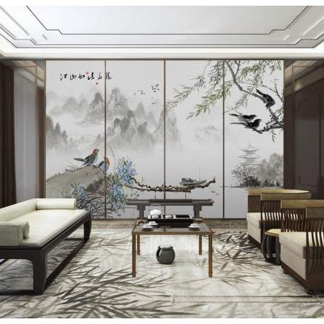 papier peint vinyle intiss personnalis poster g ant s jour paysage asiatique zen le saule. Black Bedroom Furniture Sets. Home Design Ideas