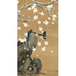 Peinture asiatique fleurs et oiseaux format portrait (vertical) - Les magnolias et les oiseaux