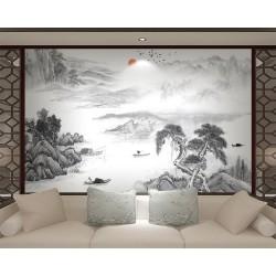 Peinture asiatique zen paysage en noir et blanc - Les pêcheurs sur la rivière dans la montagne