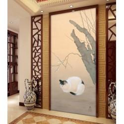 Peinture asiatique format portrait (vertical) - Le chat noir et blanc sous l'arbre de mei