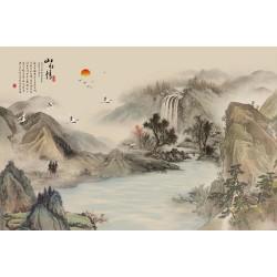 Peinture asiatique aspect ancien paysage zen - Chute d'eau et la rivière dans la montagne
