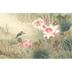 Peinture asiatique fleurs et oiseaux aspect ancien - Les lotus roses et l'oiseau bleu