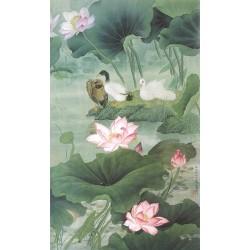 Peinture asiatique fleurs et oiseaux format portrait (vertical) - Les lotus roses et les canards dans l'étang