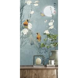 Peinture asiatique fleurs et oiseaux format portrait (vertical) - Les perroquets sur l'arbre de mei