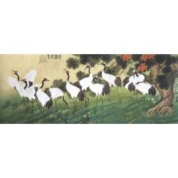 Peinture chinoise ancienne tapisserie vintage - Les Grues annoncent le printemps