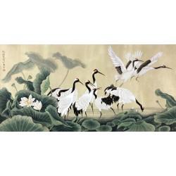 Peinture à l'encre de Chine tapisserie ancienne - Les grues dans l'étang avec les lotus blancs