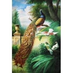 Papier peint d'artiste classique peinture à l'huile - Le paon dans le jardin
