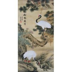 Peinture chinoise ancienne format portrait (vertical) - Les grues dans la vallée