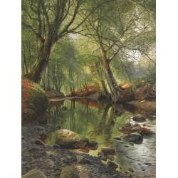 Papier peint d'artiste issu d'un tableau de peinture format portrait (vertical) - Rivière dans la forêt