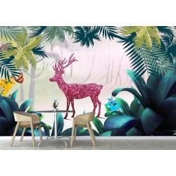 Papier peint paysage féerique pour enfant motif dessiné à la main - Le cerf dans la forêt