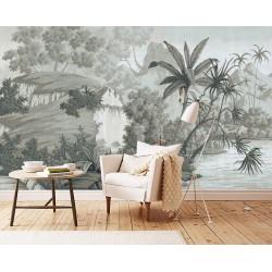 Tapisserie tropicale issue d'un tableau de peinture classique  - Chute d'eau au bord du lac, effet grisaille