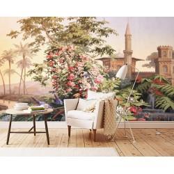 Tapisserie florale issue d'un tableau de peinture classique - Maison et jardin avec fontaine, effet sépia