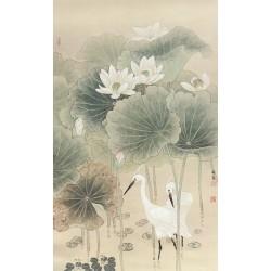 Peinture chinoise ancienne tapisserie vintage - Les aigrettes dans l'étang avec les lotus blancs