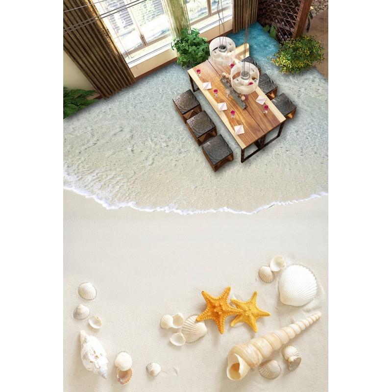 design 3d rev tement de sol trompe il salle de bain cuisine les coquillages sur sable blanc. Black Bedroom Furniture Sets. Home Design Ideas