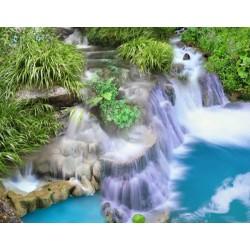 Revêtement de sol trompe l'œil 3d paysage zen - Petite cascade et les plantes d'eau