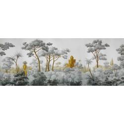 Tapisserie vintage issue d'un tableau de peinture classique - Château dans la forêt tropicale, effet grisaille