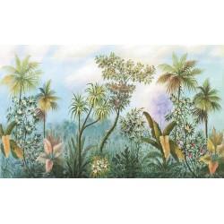 Tapisserie tropicale issue d'un tableau de peinture classique - La jungle en fleurs