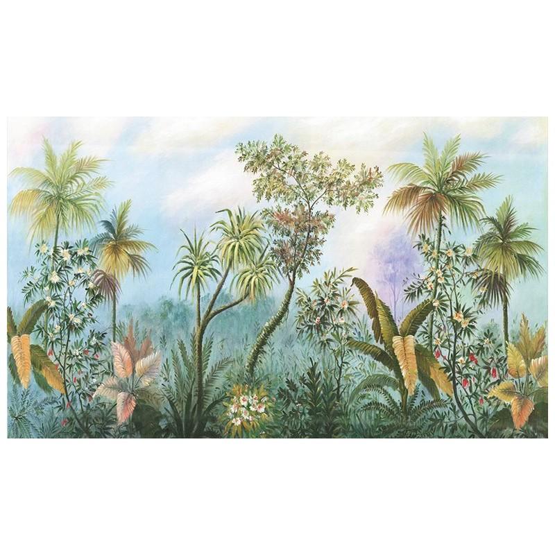d coration murale jungle panoramique plante fleur tropicale papier peint sol 3d. Black Bedroom Furniture Sets. Home Design Ideas