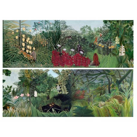 Tapisserie tropicale grand format panoramique - Les animaux dans la jungle