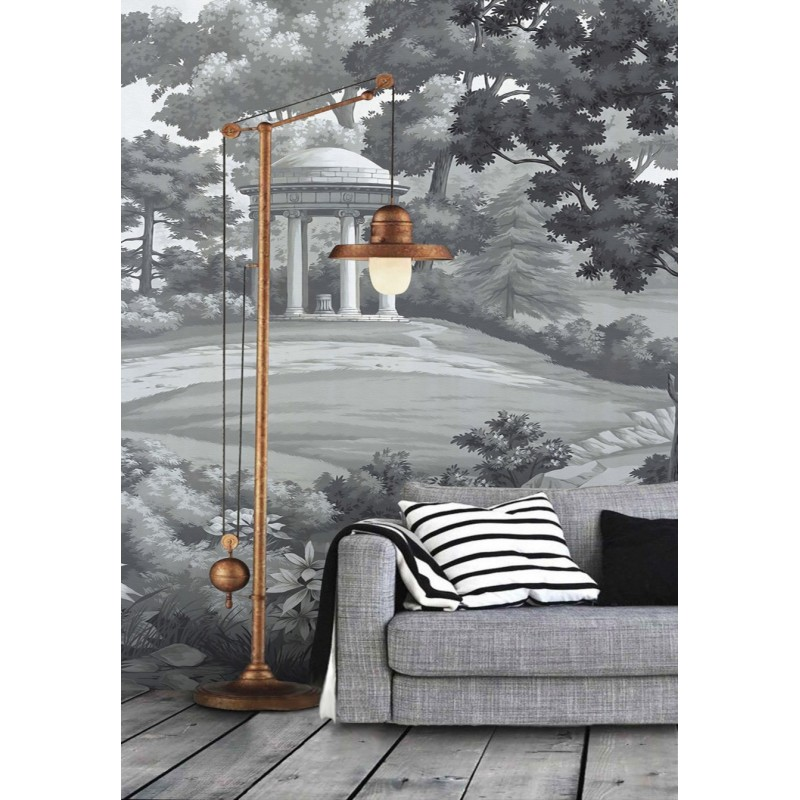 papier peint personnalis en textile l unique tapisserie murale paysage jardin ton gris. Black Bedroom Furniture Sets. Home Design Ideas