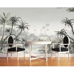 Papier peint tropical issu d'un tableau d'artiste - Les arbres de la jungle, niveaux de gris