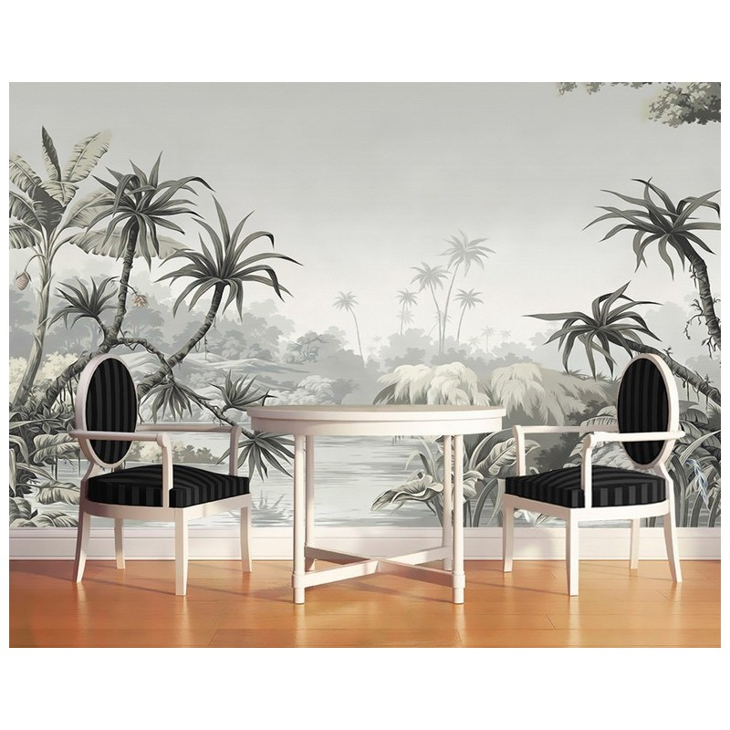 papier peint photo personnalis niveaux gris poster g ant mural salon paysage de la jungle. Black Bedroom Furniture Sets. Home Design Ideas