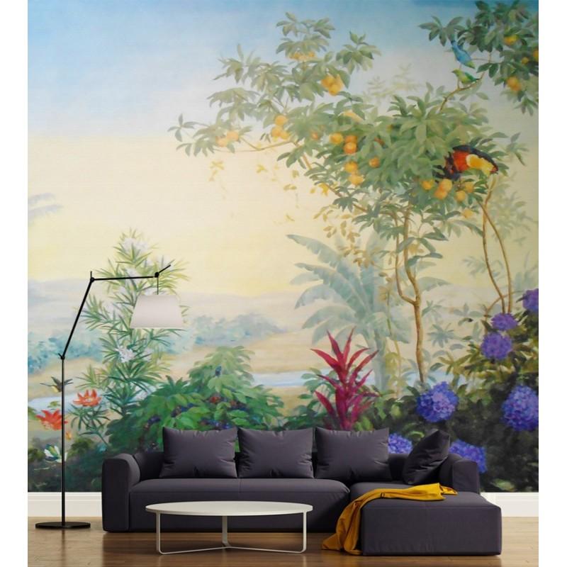 poster g ant mural xxl salle de s jour papier peint vinyle intiss les fleurs et les oiseaux. Black Bedroom Furniture Sets. Home Design Ideas
