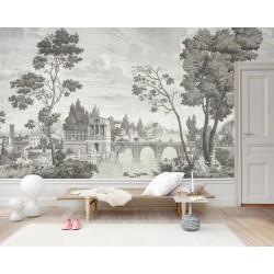 Papier peint d'artiste ancien tapisserie vintage niveaux de gris - Promenade au bord de la rivière