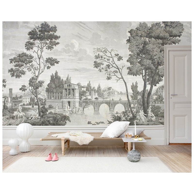 papier peint photo panoramique niveaux de gris tapisserie murale xxl tableau ancien le pont sur. Black Bedroom Furniture Sets. Home Design Ideas
