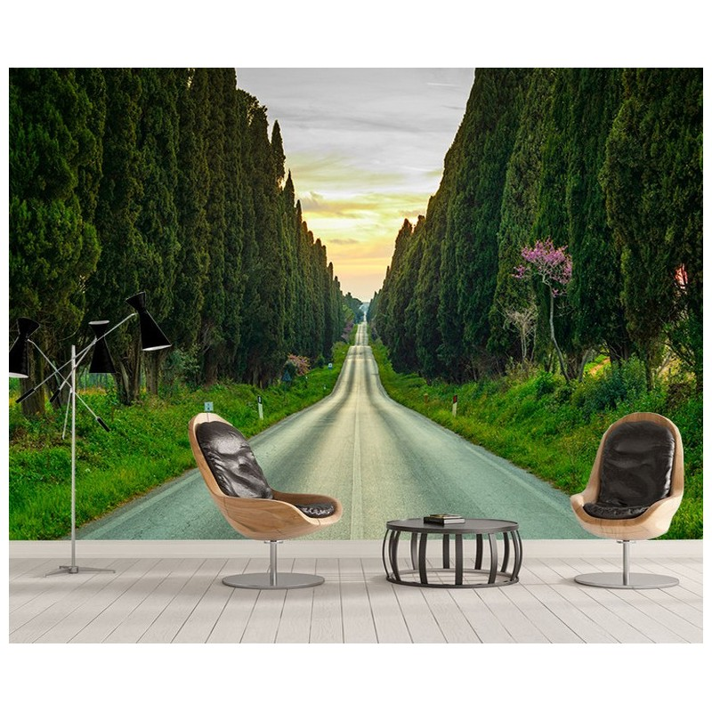 papier peint panoramique personnalis tapisserie trompe l 39 oeil 3d paysage en profondeur la route. Black Bedroom Furniture Sets. Home Design Ideas