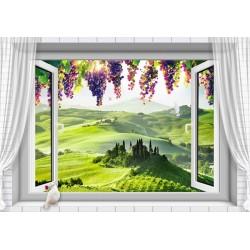Papier peint photo paysage trompe l'œil 3D - Le champ de vigne et les grappes de raisin devant la fenêtre