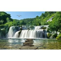 Papier peint photo paysage trompe l'œil 3D - Passage en pierre vers la grande chute d'eau - Extension d'espace