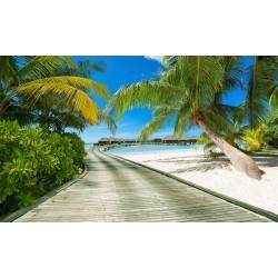 Papier peint tropical paysage trompe l'œil 3D - Passage vers l'hôtel flottant - Extension d'espace